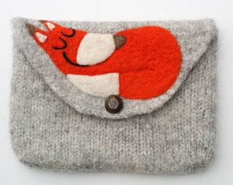 Felted bag pouch purse bag hand knit needle felted gray wool needle felted fox