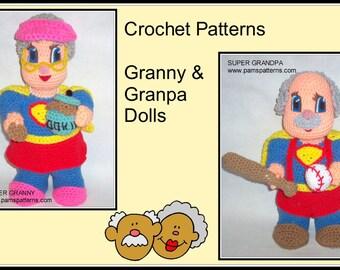 Grandparent's Day Doll Crochet Patterns, crochet Granny doll, crochet Granpa doll, crochet cookie jar