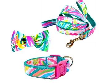 2017 FAN SEA PANTS Dog Collar and/or Leash on Teal with Bow or Flower Option Made from Lilly Pulitzer Fabric Size: Your Choice