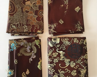 4 Pieces - Brown Brocade Fabrics