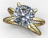 raven ring - 2 carat cushion cut round NEO moissanite engagement ring, colorless moissanite