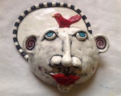 Ceramic Silly Head butter/cheese dish and cover Sculpture