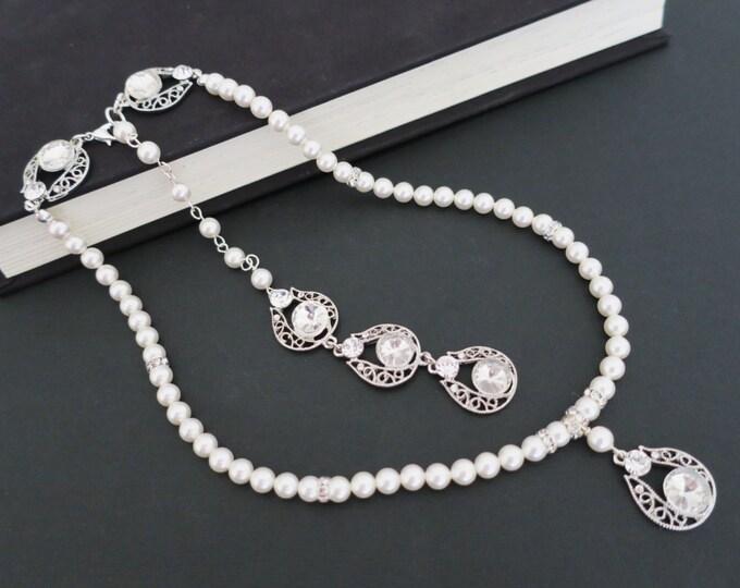 Back Drop Bridal Necklace, Wedding Back Drop Necklace, Pearl Bridal Necklace, Wedding Necklace Bridal Jewelry, Drop, Rhinestone Vintage