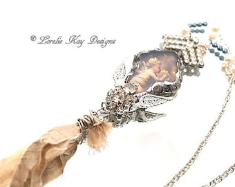 Cherub Angel Soldered Crystal Tassel Necklace Romantic Assemblage Necklace Lorelie Kay Designs