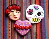 Frida sugar skull or heart MAGNET you choose