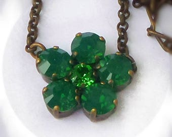 Swarovski crystal  flower pendant 8mm fancy stones palace green opal & fern green ,antique brass plated