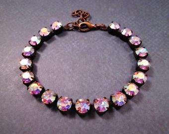 Rhinestone Bracelet, Fire Polished Pale Pink Glass Rhinestone and Copper Beaded Bracelet, FREE Shipping U.S.