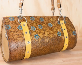 Leather Barrel Bag Purse - Handmade Women's Shoulder Bag in Tooled Western Floral Pattern - One of a kind - Yellow, Turquoise, Antique Brown