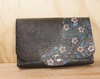 Leather Clutch Purse  - Tooled Leather in blue and black - Handmade Bookworm Clutch, Purse, Waist Bag or Cross body Bag - ONE OF A Kind