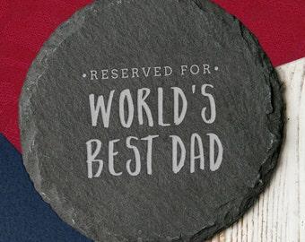 Worlds Best Dad Slate Coaster