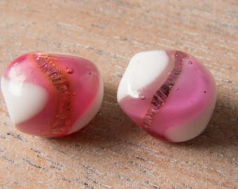 Vintage Italy 1947 Extremely Rare 24K Gold Foiled Lampwork Pink and White Glass Beads - 12mmx11mm - Perfect Earring Pair