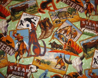 2 yds Texas Patch Allover Print Fabric Yardage Quilting  Cotton Mill End Special