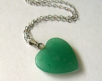 Vintage Green Stone Heart Necklace