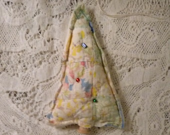Upcycled quilt ornament, vintage cutter quilt  tree ornament, scrap fabric Christmas ornament, buttons, whimsical, patchwork ornament