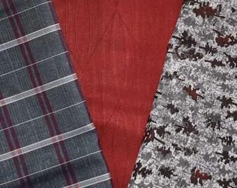 Vintage Japanese Kimono Fabric Bundle 3 Sleeve Mix Crafting - Distinguished Dame