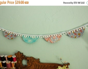 Entire Shop On SALE Fabric Scallop Bunting Flag Garland with Pompoms, Shabby Chic Vintage Reproduction Fabric.  Photo Prop, Party Decoration