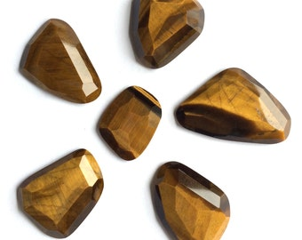 Gemstone Cabochon Tiger Eye Yellow Free Form Faceted Parcel SIX CABS