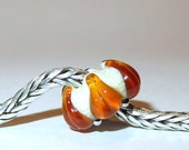 Luccicare Lampwork Bead - Amber Lily -  Lined with Sterling Silver