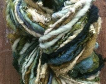 Wasabi handspun naturally dyed mixed fiber art yarn 66 yards single ply bulky weight