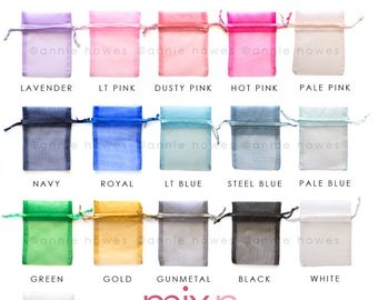 25 Pack of Organza Bags Jewelry Pouches. Choose your Colors. 3x4 Inch.Mix & Match. OB3X4