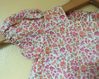 Vtg Handmade Calico Cotton Dress for Baby 2 years old