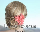 Coral Hair Flowers, Wedding Hair Accessories, Bridal Hair - 3 Coral Wild Orchid Flowers for Beach Destination Wedding
