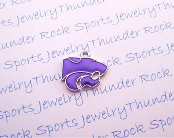 3 KANSAS State WILDCATS CHARMS Antique Silver Plated with purple enamel University logo College Pendants