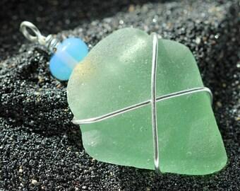 Seafoam Sea Glass pendant - Wire Wrapped jewelry - Beach glass jewelry - Aqua beach glass - Genuine sea glass jewelry - Under 15 gift idea