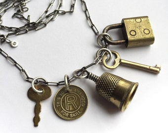 """Vintage Brass Padlock Working Key Antique Award Skill Token Thimble Charm Necklace 36"""" Long Sterling Oblong Cable Chain Eclectic"""