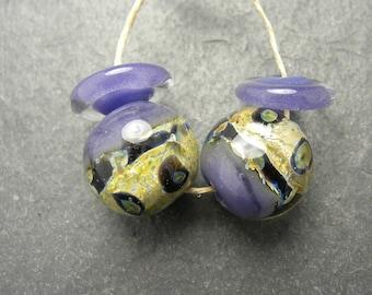 CrazyCatGlass Lampwork Boro Glass Beads Handmade Royalty Round Pair