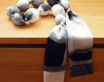 Silk Necklace - White silk necklace - Black silk necklace - Grey silk necklace - Wedding necklace  46 x 2 in ( 116 x 5 cm )