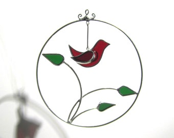 You Pick Any Color - 3D Stained Glass Ornament - Round Bird Branch Home Garden Suncatcher Hanging Christmas Tree Ornament (MADE TO ORDER)