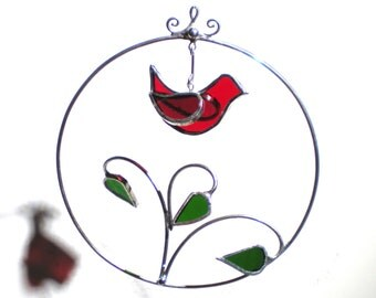 Cardinal Branch - 3D Stained Glass Ornament - Red Bird Green Leaves Wire Christmas Holiday Tree Decoration Suncatcher (READY TO SHIP)