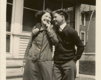 vintage photo 1927 Couple Teenagers She is Coy he is in Love