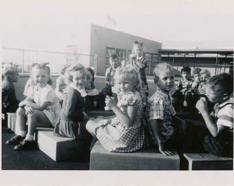 vintage photo Kindergarten Playground Break Little 1950s Kiddos