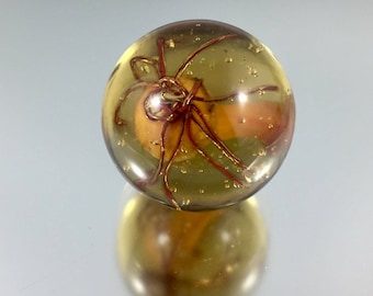 Lampwork Marble, Soft Glass Marble, Copper Wire Marble, Glass Orb, Artisan Crafted Marble, Spider Marble, Amber Marble, art glass marble