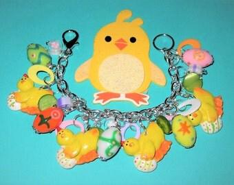Easter Bracelet, Easter Chick Bracelet, Easter Charm Bracelet, Easter Egg Bracelet, Easter Chick Charm Bracelet, Easter Jewelry, Egg Jewelry