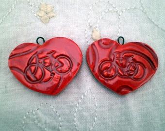 2 Bike Beads, Bike Gift, Bicycle Beads, Heart Beads, Ceramic Heart Beads, Handmade Heart Beads, Pottery Heart Beads, Clay Heart Beads (2AAT)