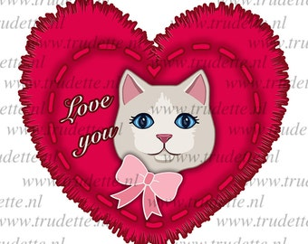 Heart with cat,  Clipart Single, commercial use, Love / red heart Clipart / Digital Clipart , Heart clipart, love clipart, heart, trudette