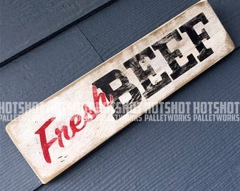 Fresh Beef, Hand Painted, Vintage-looking, Pallet Sign