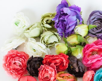 GRAB BAG #2 - Over 30 Mini to Large Size Flowers in Mixed Colors - Silk Artificial Flowers