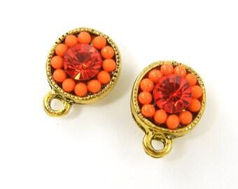 Orange Rhinestone Stud Earring Findings Destash