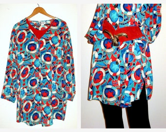 "70s Oversized Shirt Dress Tunic Top Colorful Naticual Theme-52""Chest-Size 2X"