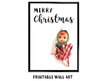 Christmas Print Wall Art Printable Greeting Card Vintage Kneehugger Holiday Shelf Elf Digital Download 5x7 8x10 A4 A5