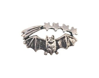 Bat and Stars Ring      Shooting silver gold sterling