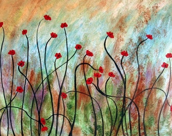 Dancing Red Poppies  - 8 x 10 Buy 2 get 1 FREE  by  Vadal