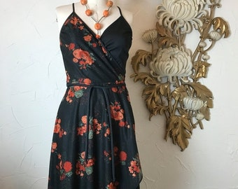 Fall sale 1970s dress wrap dress spaghetti strap dress disco dress vintage dress 1970s sundress size small black floral dress