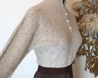 1940s sweater beige sweater wool sweater fitted sweater size small vintage sweater 40s shirt