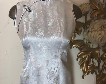 1990s dress cheongsam dress asian dress sleeveless dress size small vintage dress white dress hourglass dress maxi dress