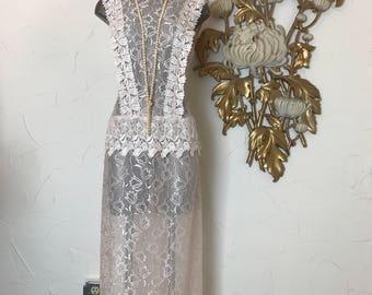 1980s dress sheer dress lace dress size medium vintage dress wedding dress flapper dress 1920s style